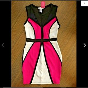 Neon Pink Contrast Piping Geometric Bodycon Dress